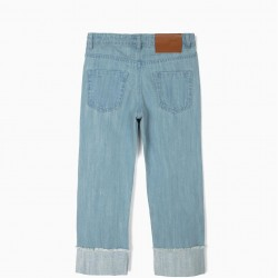 GIRL'S JEANS WITH COLOR EMBROIDERY, LIGHT BLUE