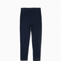 2 LEGGINGS FOR GIRLS 'SIGNS', DARK BLUE AND LIGHT BLUE