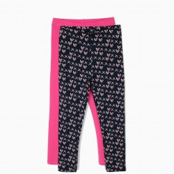2 LEGGINGS FOR GIRLS HEARTS, BLUE AND PINK