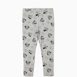 2 GIRLS 'MINNIE MOUSE' LEGGINGS, BLUE AND GRAY