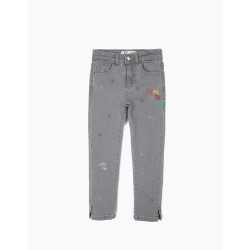 'WE ARE THE FUTURE' GIRL JEANS WITH EMBROIDERY, GRAY