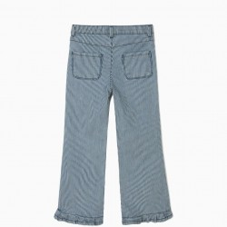 BLUE AND WHITE STRIPED AND RUFFLE PANTS FOR GIRLS