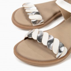 BRAIDED SANDALS FOR GIRLS, WHITE AND SILVER