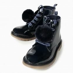 VARNISH BOOTS FOR GIRLS BIKER, DARK BLUE