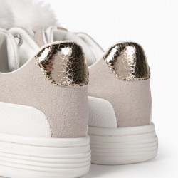 GIRL'S SHOES WITH FUZZY POMPOMS, WHITE