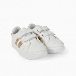 'ZY' KIDS SHOES, WHITE AND GOLD