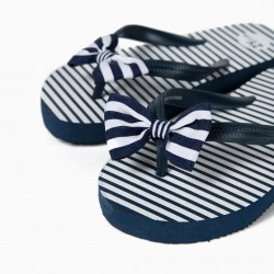BLUE AND WHITE STRIPED AND BOW GIRL SLIPPERS
