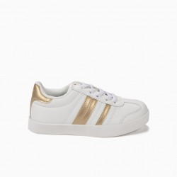 'ZY RETRO' CHILDRENS SHOES WITH STRIPES, WHITE AND GOLD
