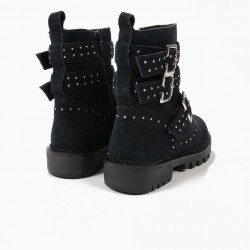 BLUE STUDS SUEDE BOOTS