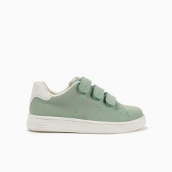 'ZY 1996' GIRLS SHOES WITH VELCRO, GREEN AND WHITE