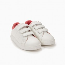 'ZY 1996' GIRLS SHOES WITH VELCRO, WHITE AND PINK