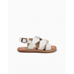 LEATHER SANDALS FOR GIRLS WITH BOWS, WHITE