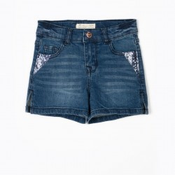 GIRL'S DENIM SHORT WITH SEQUINS, BLUE