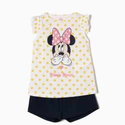 CUTE MINNIE T-SHIRT AND SHORTS FOR GIRLS, WHITE AND BLUE