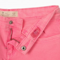 COSMIC WORLD TWILL SHORTS FOR GIRLS, HOT PINK