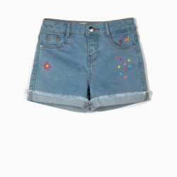 'OMG' GIRL'S DENIM SHORTS WITH EMBROIDERY, LIGHT BLUE