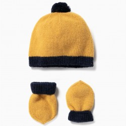 WOOL HAT AND GLOVES FOR NEWBORN, YELLOW / BLUE
