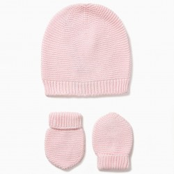 NEWBORN CAP AND GLOVES, PINK
