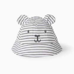 HAT FOR BABIES 'CUTE BEAR', WHITE/GREY