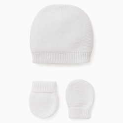 BABY HAT + MESH GLOVES, WHITE