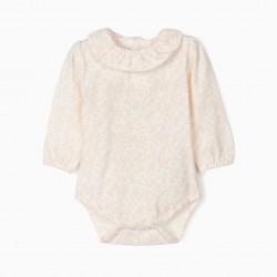 BABY BODYSUIT 'FLORES', WHITE / PINK