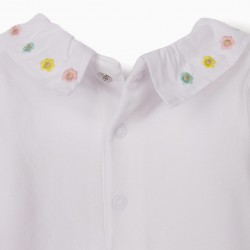 'FLOWERS' BABY BODYSUIT, WHITE