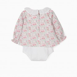 FLORIDA BODY-BLOUSE FOR BABY GIRL, WHITE / PINK