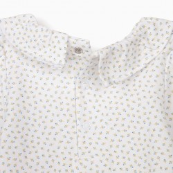 FLOWERY BODYSUIT FOR BABY GIRL, WHITE