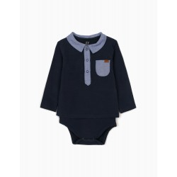 NEWBORN BABY BODYSUIT WITH POCKET, DARK BLUE