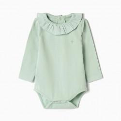 BABY BODYSUIT 'FLOR', AQUA GREEN