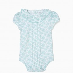 BABY BODYSUIT 'FLORES', WHITE AND LIGHT GREEN