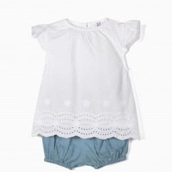 BLOUSE AND SHORTS FOR NEWBORN, WHITE AND BLUE