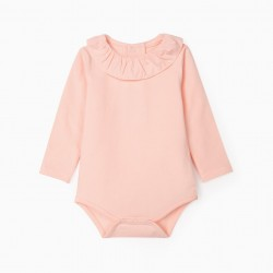 BODY WITH RUFFLE FOR NEWBORN, PINK