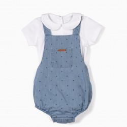 'MY 1ST DENIM' JUMPSUIT AND BODY, BLUE AND WHITE