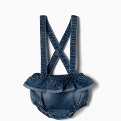 COMFORT DENIM STRAPS NEWBORN SHORTS, BLUE