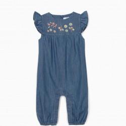 BLUE COMFORT JUMPSUIT WITH FLOWERS FOR NEWBORNS, BLUE