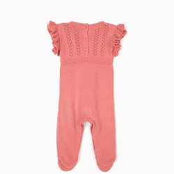 KNITTED JUMPSUIT FOR NEWBORN, PINK