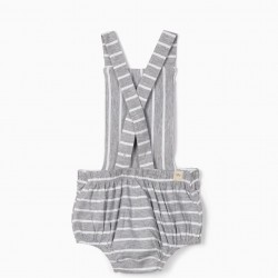 STRIPED, GRAY AND WHITE 'ANIMALS' JUMPSUIT