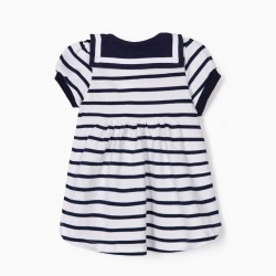 LITTLE SAILOR BABY DRESS AND DIAPER COVER, WHITE AND BLUE