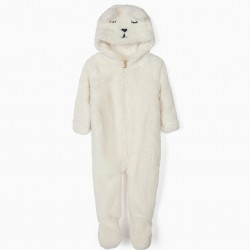 CUTE BEAR HOODED JUMPSUIT, WHITE