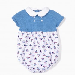 COMBINED JUMPSUIT FOR NEWBORN 'BOATS', BLUE AND WHITE