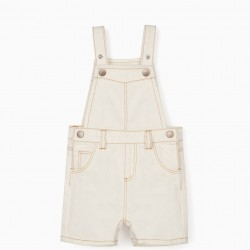 DENIM DUNGAREES FOR BABY BOY, WHITE