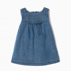 DENIM DRESS WITH BABY COVER FOR NEWBORN, BLUE