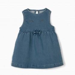 COMFORT DENIM NEWBORN DRESS, BLUE