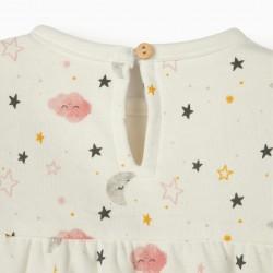 NIGHT SKY NEWBORN DRESS, WHITE