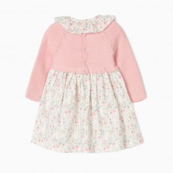 BABY GIRL MATCHING DRESS, PINK / WHITE