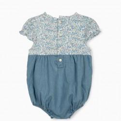 DUAL FABRIC JUMPSUIT FOR NEWBORN BABY GIRLS, BLUE/WHITE