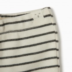 2 RIBBED PANTS FOR NEWBORN, GRAY / WHITE