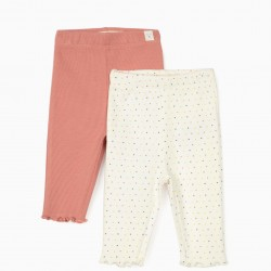 2 RIBBED PANTS FOR NEWBORN, PINK / WHITE