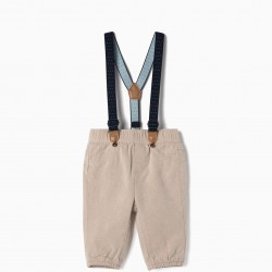 PANTS WITH BRACES FOR NEWBORNS, BEIGE